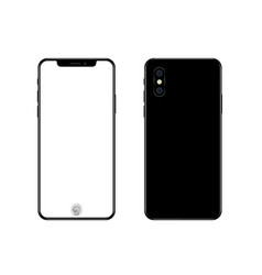 phone mockup with blank screen back and front vector image