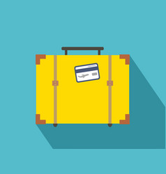 vintage travel suitcases flat icon with long vector image vector image