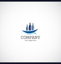 wine ship company logo vector image vector image