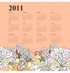 floral calendar for 2011 vector image