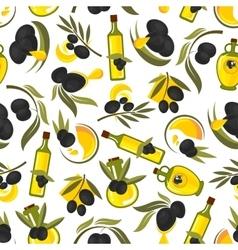 Healthful olive oil seamless pattern vector