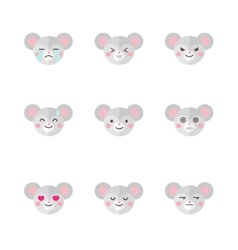 minimalistic flat mouse emotions icon set vector image vector image