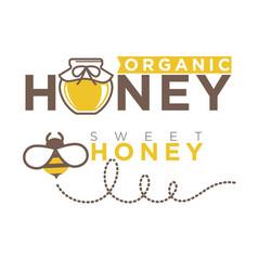 organic sweet honey logo design in flat style vector image