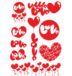 romantic red love heart elements set vector image vector image