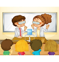 Students doing science experiment in classroom vector image vector image