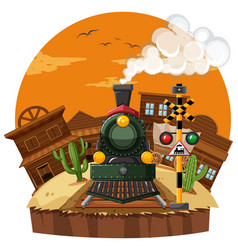 train ride in the western town vector image vector image