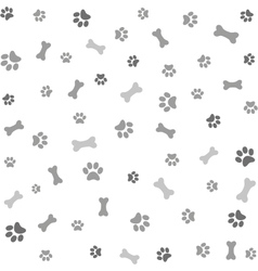 Background with dog paw print and bone vector image vector image