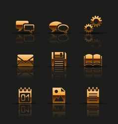 Golden web icons set vector image vector image