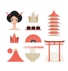 japan icons set asia design elements collection vector image vector image