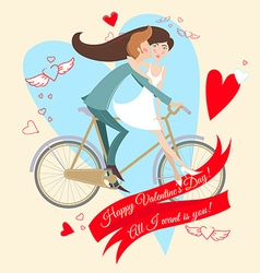 Loving couple on the bicycle Valentines day vector image