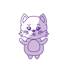 Silhouette cute cat wild animal with face vector