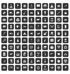 100 elephant icons set black vector