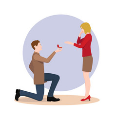 a man proposing to the girl standing on knee vector image