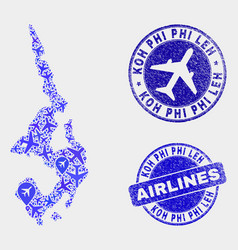 airlines composition koh phi leh map and vector image