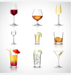 Alcohol Realistic Set vector image