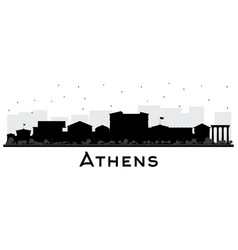 Athens greece city skyline silhouette with black vector