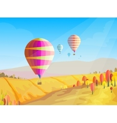 Autumn landscape with flying balloons in the sky vector