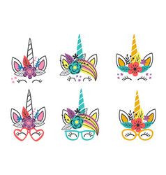 basic rgbset isolated funny unicorn faces vector image