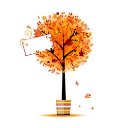 Beautiful autumn tree in pot for your design vector image