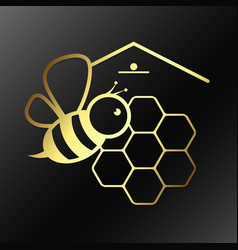 Bee and honeycombs symbol vector