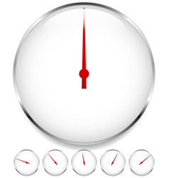 Blank dial gauge elements in sequence with red vector