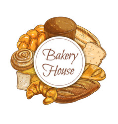 bread bakery shop sketch banner baked food vector image