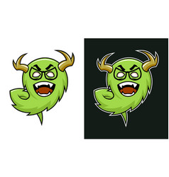 cartoon horned monster troll character in glasses vector image