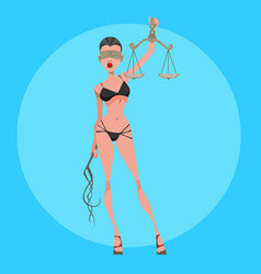 Cartoon sexy woman themis in lingerie with scales vector