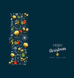 christmas and new year gold low poly pattern card vector image