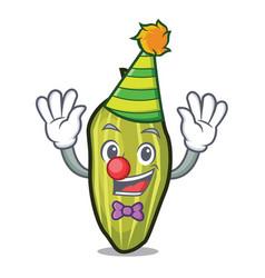 Clown cardamom mascot cartoon style vector