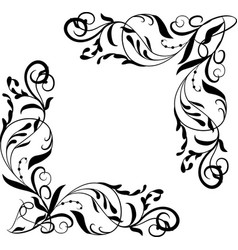 Corner element vignettes ornate frame vector