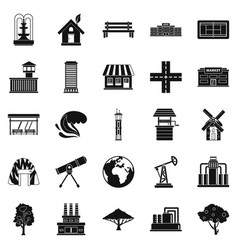 country icons set simple style vector image