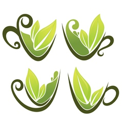 Cups full of green tea vector
