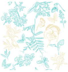 cute seamless wallpaper pattern with flowers vector image