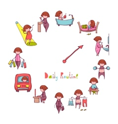 Daily routine set with funny girl vector