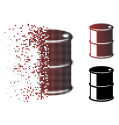 Dispersed pixel halftone oil barrel icon vector