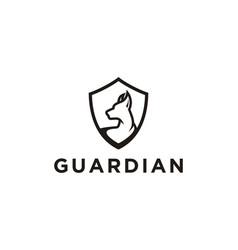 Dog shield logo guard logo template vector