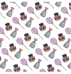 Doodle cake candles with hats and balloons vector