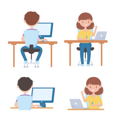 Education online boy and girl students with laptop vector