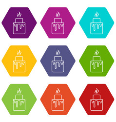 Empanadas icons set 9 vector