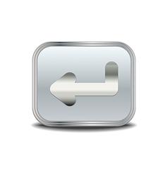 Enter icon metal button vector