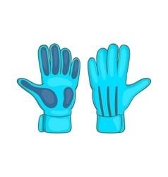 Football goalkeeper gloves icon cartoon style vector