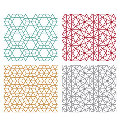 Geometric seamless line patterns in hexagon vector