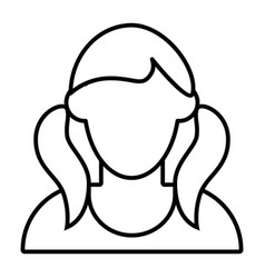 Girl with tails avatar thin line icon faceless vector