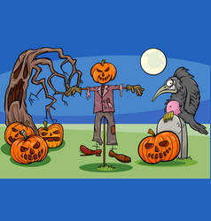 Halloween cartoon spooky characters group vector