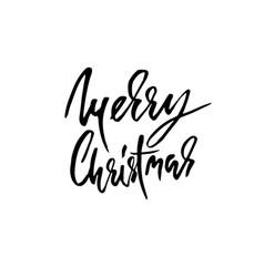 Hand drawn phrase merry christmas modern dry vector