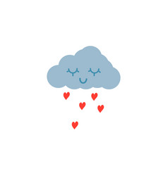 hand drawn pink love cloud vector image