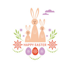 happy easter card bunnies family vector image