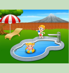 happy kids playing in swimming pool vector image