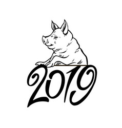 happy pig head portrait isolated symbol 2019 vector image